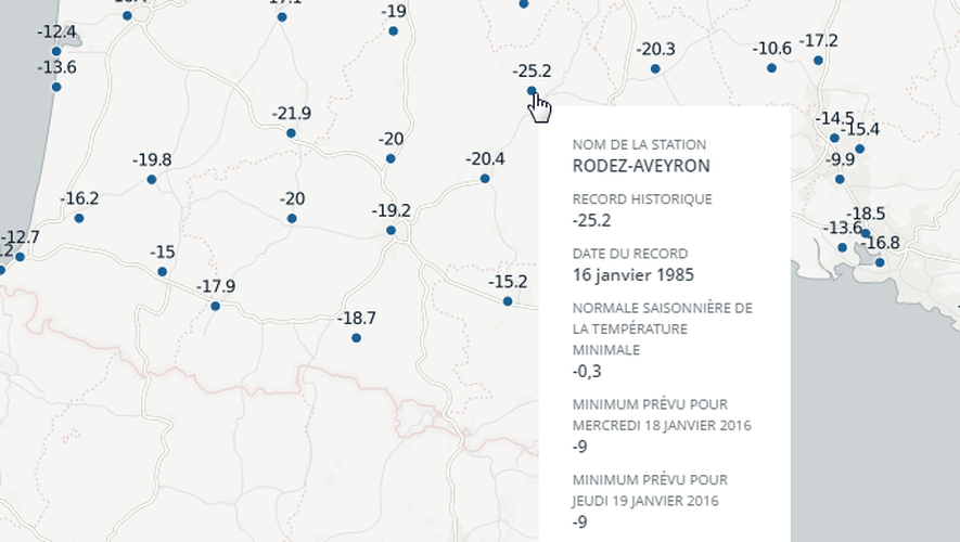 France Info a réalisé une carte pour comparer les températures records, relevées dans chacune des stations Météo France, et les prévisions météorologiques attendues ces jours-ci dans ces mêmes stations.