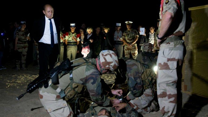 Exercice de soldats de la 13e DBLE devant le ministre de la Défense Jean-Yves Le Drian, aux Emirats arabes unis, le 2 janvier 2016