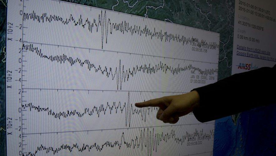Kuo Kai-wen, directeur du Centre sismologique de Taïwan, montre les courbes du sismographe après le premier test de bombe à hydrogène annoncée par la Corée du Nord, le 6 janvier 2016 à Taipei