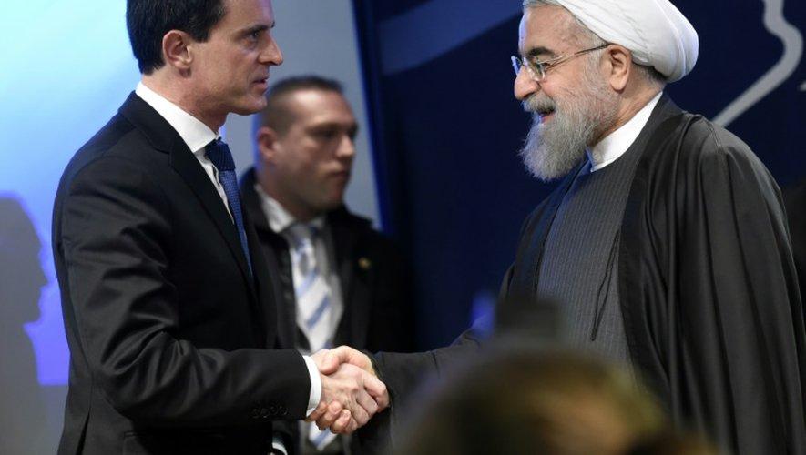 Le Premier ministre Manuel Valls et le président iranien Hassan Rohani, le 28 janvier 2016 à Paris