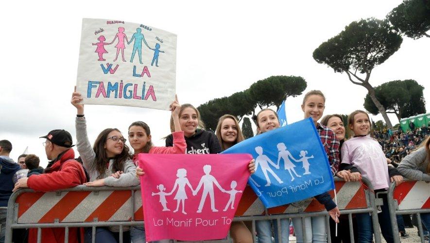 Manifestants pour la journée de la famille à Rome le 30 janvier 2016