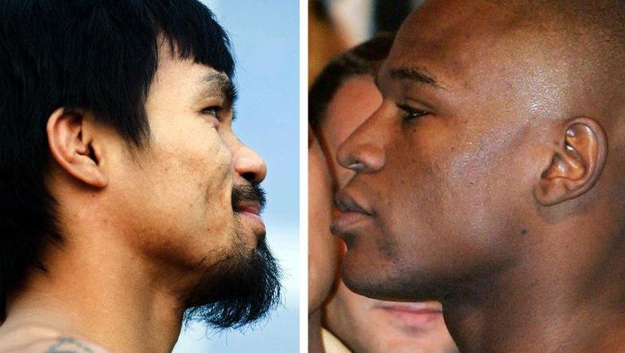 Le Philippin Manny Pacquiao (g) le 12 mars 2010 et l'Américain Floyd Mayweather Jr. (d) le 4 mai 2007