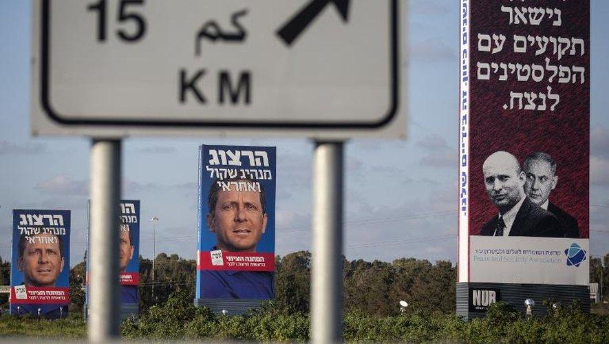 Des affiches électorales avant les élections en Israël, le 14 mars 2015 à Tel-Aviv