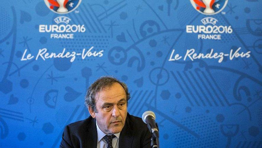 Michel Platini pendant une conférence de presse en marge de la réunion du comité de pilotage de l'Euro-2016 à Lyon, le 12 mars 2015