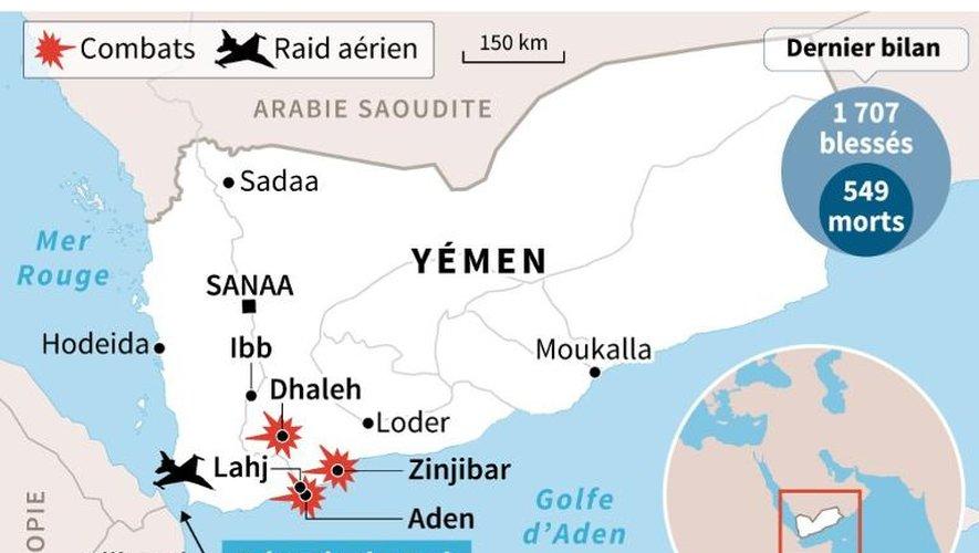Carte de localisation des derniers raids et combats au Yémen, réalisée le 6 avril 2015