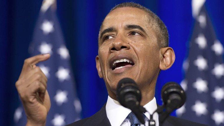 Barack Obama lors d'une conférence de presse sur la NSA le 17 janvier 2014 à Washington