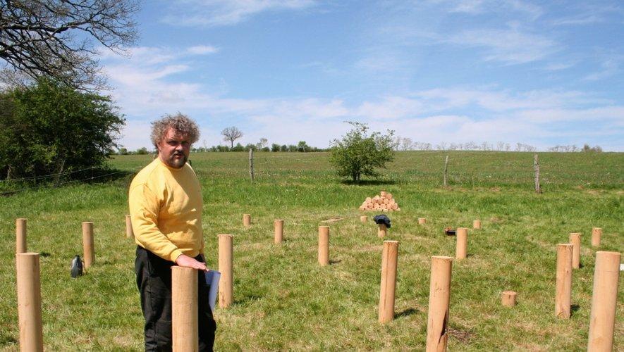Les pylônes de bois vont bientôt supporter le plancher de la yourte de 72m2.