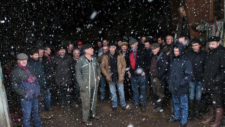 Les éleveurs, ici à St-Urcize (Cantal) en pleine tempête de neige, ont attendu en vain le contrôleur, mais restent unis pour affronter le rat taupier appelé aussi campagnol terrestre.