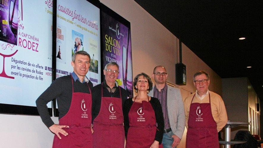 Yann Marie et les quatre cavistes de Rodez, partenaires pour un minifestival les mercredis 23 mars, 30 mars et 6 avril.