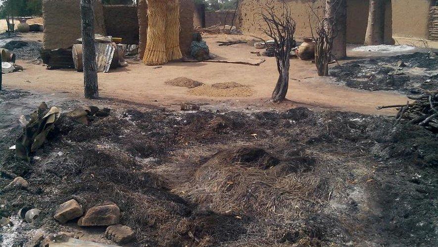 Un village dévasté après une attaque attribuée à des islamistes, le 28 janvier 2014 à Kawuri, près de Borno (nord-est du Nigeria)