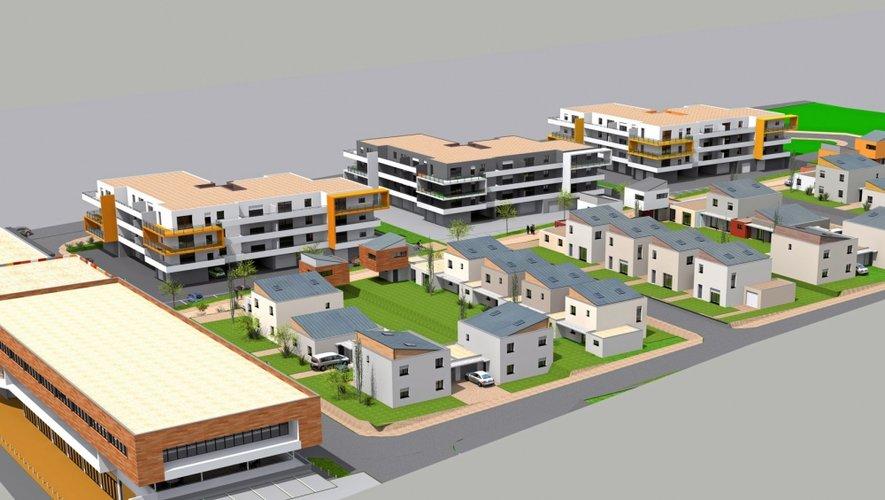 La maquette du projet qui va créer un nouveau quartier à Olemps. Ce sont les promoteurs ruthénois Jean-Claude Douziech et Patrice Stival qui portent le dossier.