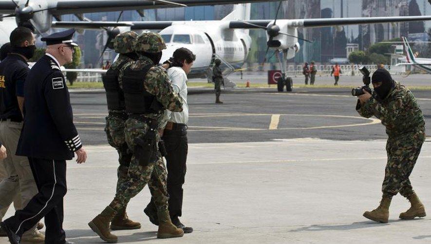 """Arrestation du trafiquant de drogue mexicain Joaquin """"Chapo"""" Guzman, le 22 février 2014 à Mexico"""