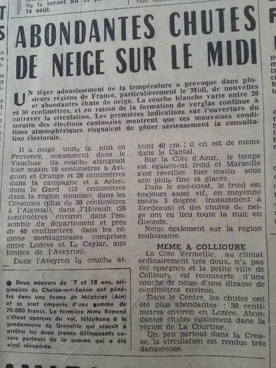 Extrait du journal Centre Presse daté du 9 mars 1964.