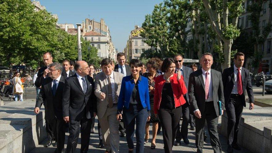 Les membres du gouvernement à Marseille le 29 mai 2015