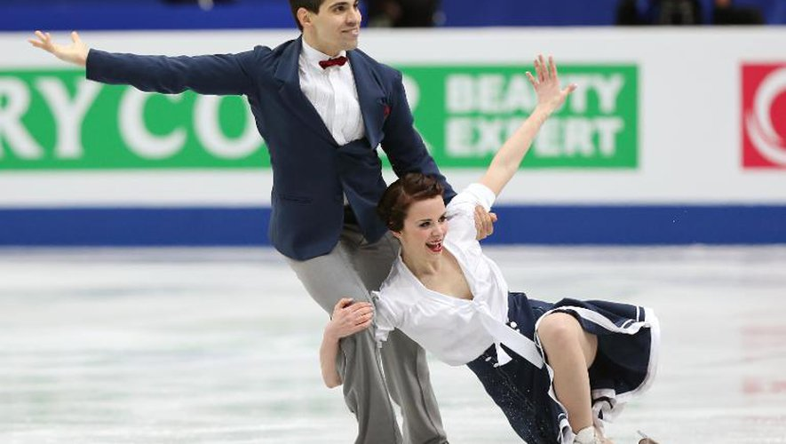 Luca Lanotte et Anna Cappellini le 28 mars 2014 lors des Mondiaux-2014 de patinage artistique à Saitama au Japon
