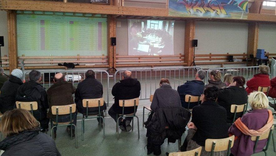 Dépouillement sur grand écran à Villefranche-de-Panat.