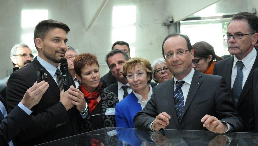 Ludovic Mouly, au micro, lors de la visite du président de la République, François Hollande, le 29 mai au musée Soulages à Rodez. La structure est un projet d'envergure porté par le Grand Rodez et qu'a conduit M.Mouly.