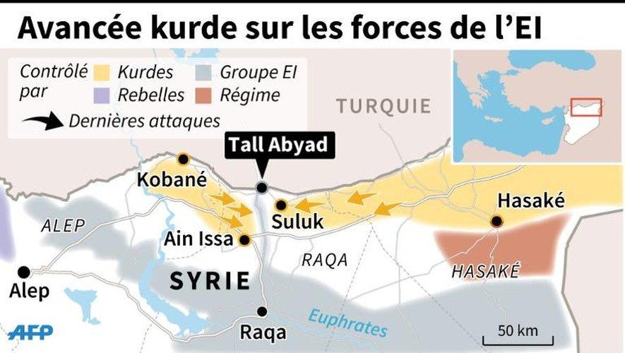 Carte du nord de la Syrie détaillant la situation autour de Tall Abyad