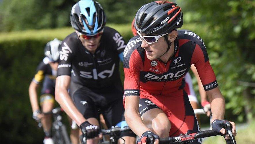 Le Britannique Chris Froome (Sky) (g) avec l'Américain Tejay Van Garderen (d) lors de la 7e étape du Dauphiné le 13 juin 2015 à Saint-Gervais