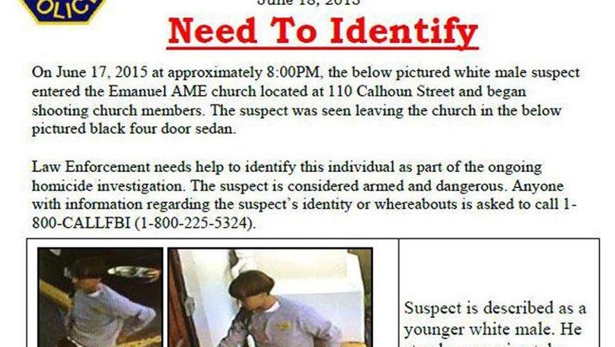Etats-Unis: l'auteur de la fusillade dans une église noire toujours en fuite