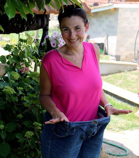 Frédérique Grialou n'a gardé qu'un vêtement de sa garde-robe de l'époque où elle pesait 50 kilos de plus. Le jean ne laisse pas de place au doute