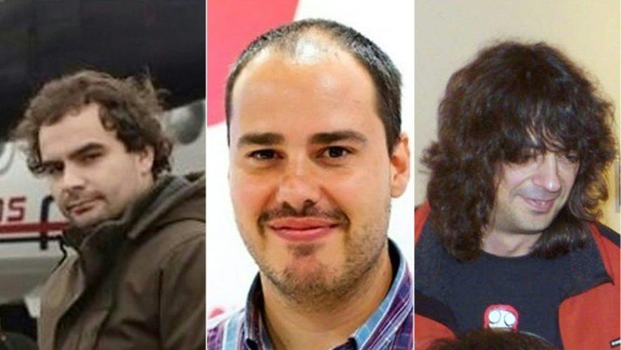 Photos-montage réalisé le 7 mai 2016 montrant les trois journalistes espagnols de gauche à droite Angel Sastre, Antonio Pampliega et Jose Manuel Lopez séquestrés près de dix mois en Syrie