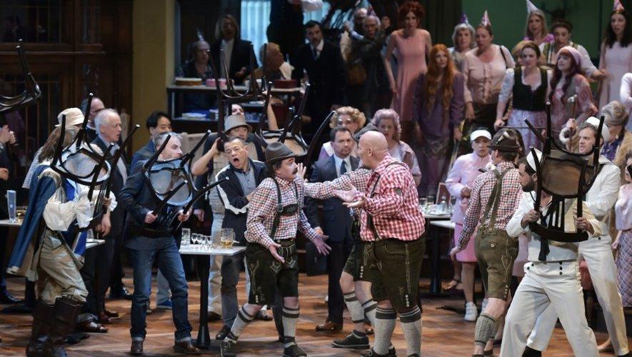 """Une scène de l'opéra de Wagner """"Das liebesverbot"""", présentée à Strasbourg à l'Opéra national du Rhin, le 6 mai 2016"""