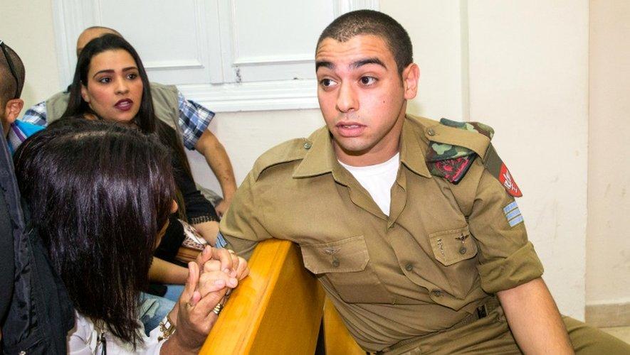 Elor Azaria, soldat franco-israélien accusé d'avoir achevé un assaillant palestinien blessé, lors de son procès devant un tribunal militaire israélien à Jaffa, près de Tel-Aviv le 9 mai 2016