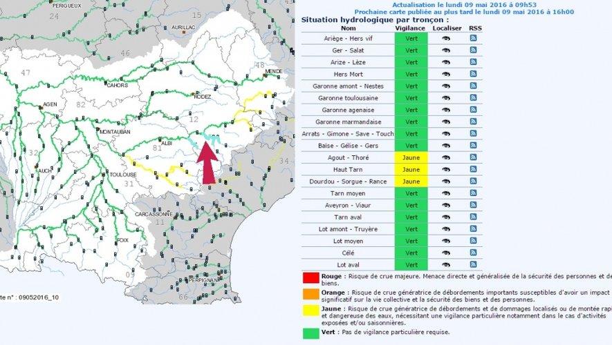Alerte aux crues dans le Sud-Aveyron