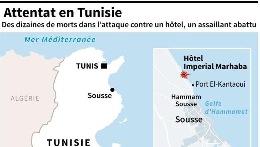 Carte de localisation de Sousse où des personnes ont été tuées vendredi dans une attaque contre un hôtel