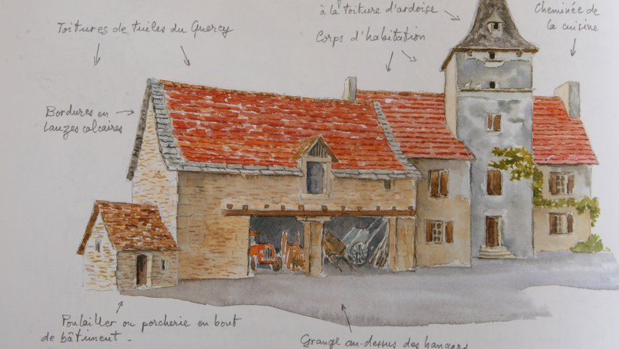 Ferme typique de la région de Villefranche-sur-Rouergue avec son pigeonnier et sa grange en rez-de-chaussée de maison.