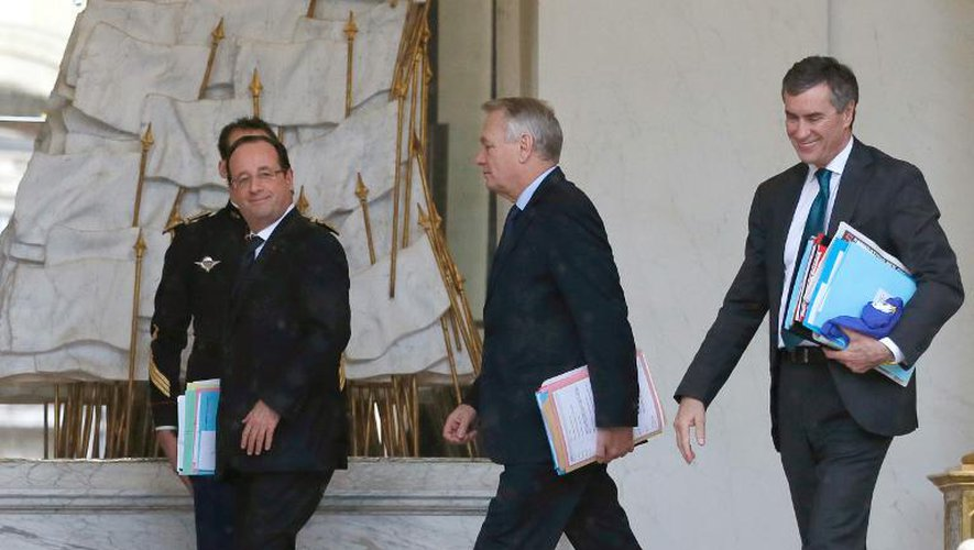François Hollande, Jean-Marc Ayrault et Jérôme Cahuzac le 30 janvier 2013 à l'Elysée à Paris