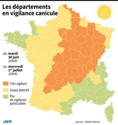 Carte de France avec les départements en vigilance orange canicule