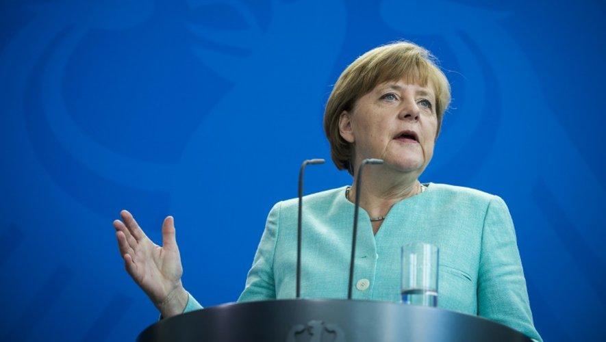 La chancelière allemande, Angela Merkel, lors d'une conférence de presse à Berlin, le 30 juin 2015