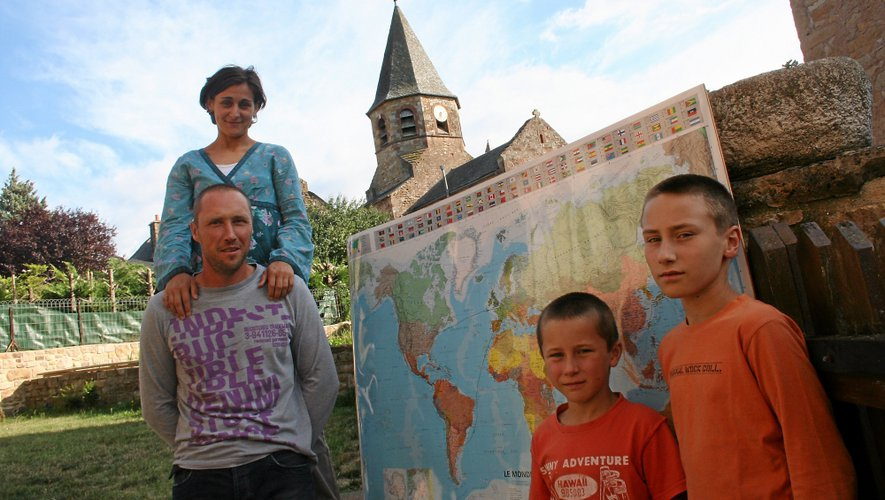 La famille Wilk à Bozouls avant leur départ en septembre 2013.