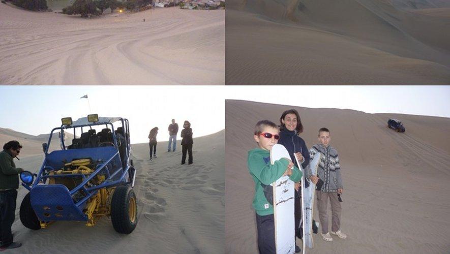 Anne-Paule, Hugo et Rémy dans les dunes non loin de la Lagune de Huacachina, au Pérou.
