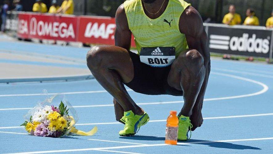 Usain Bolt à l'issue de sa victoire difficile sur 200 m, lors de la réunion de New York, étape de la Ligue de diamant, le 13 juin  2015