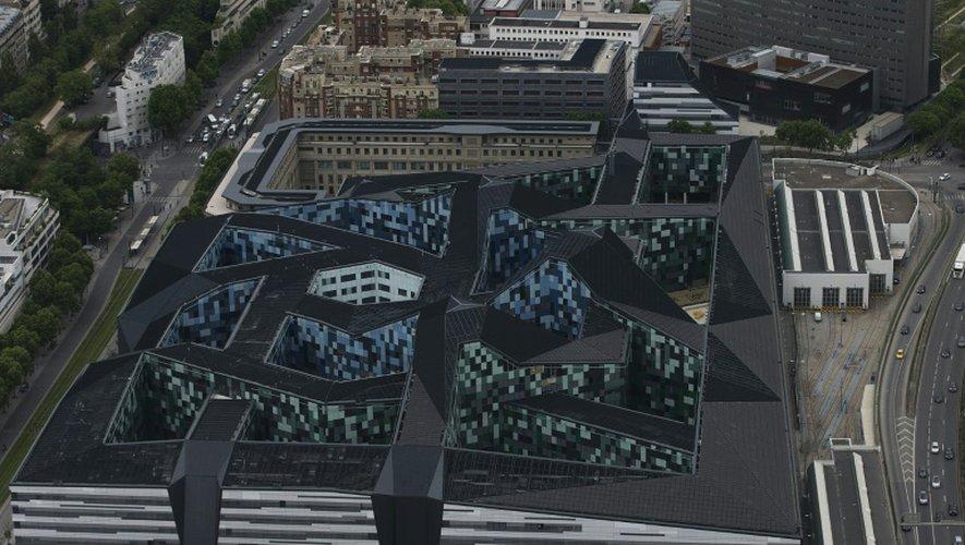 Vue aérienne du ministère de la Défense le 28 mai 2015 à Paris