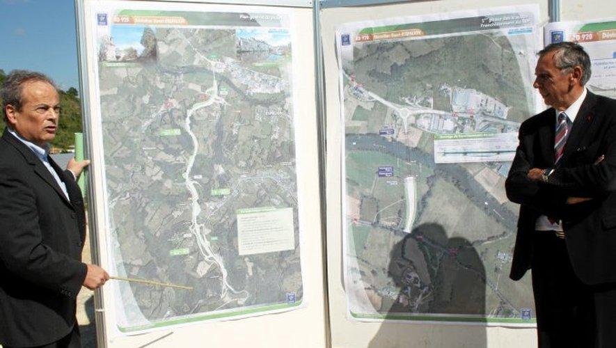 Jeudi, Jean-Claude Luche et Ernest Durand ont lancé le chantier du contournement d'Espalion.