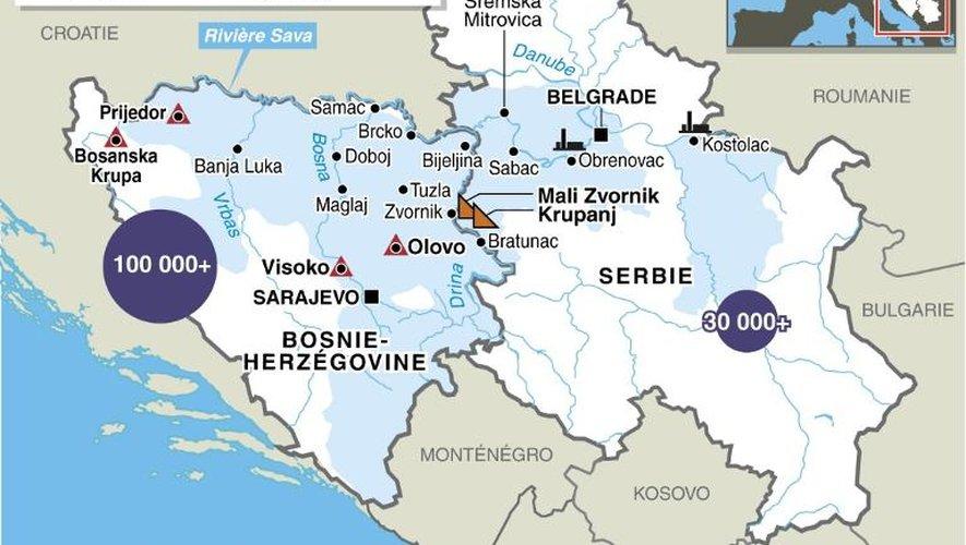 Carte des pays touchés par les inondations et chiffres dans les Balkans