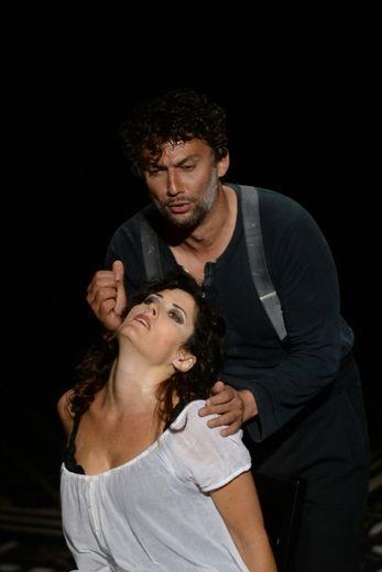 """Répétition de l'opéra """"Carmen"""" aux Chorégies d'Orange le 5 juillet 2015 avec Jonas Kaufmann en Don José et Kate Aldrich en Carmen"""