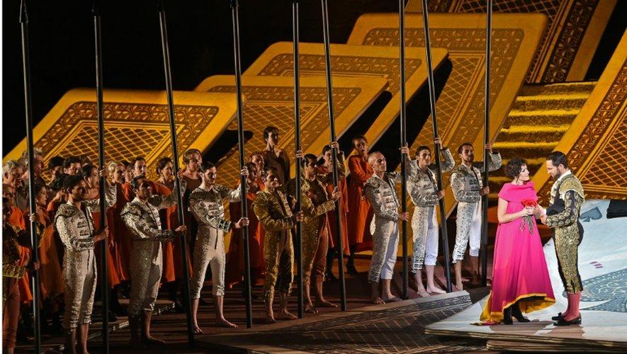 Répétition de l'opéra Carmen sur la scène des Chorégies d'Orange, le 5 juillet 2015