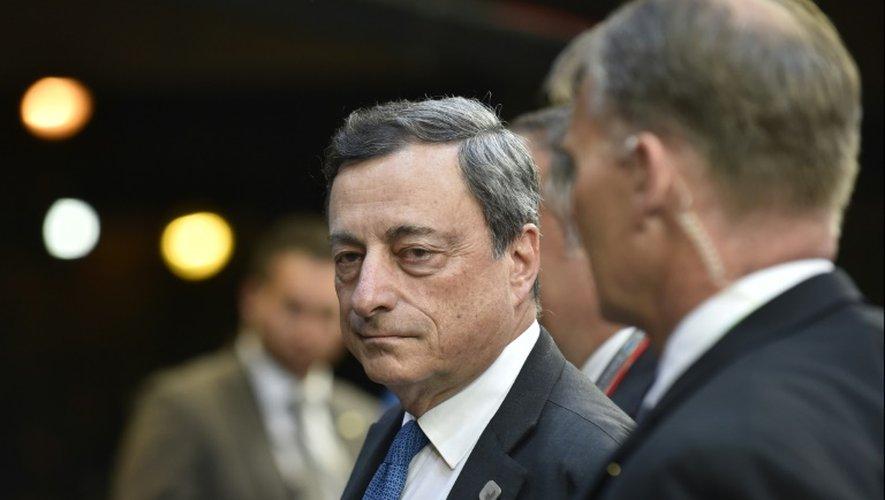 Le président de la BCE Mario Draghi à l'issue d'une réunion de l'Eurogroupe le 22 juin 2015 à Bruxelles