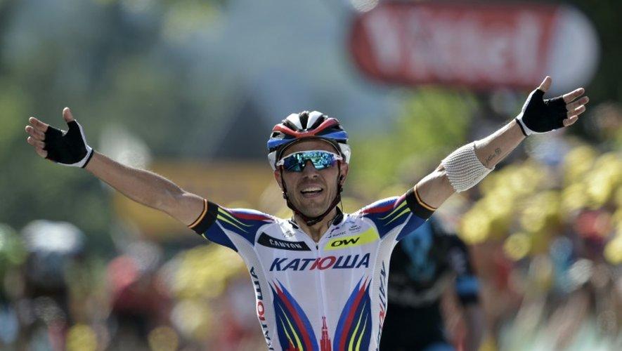 L'Espagnol Joaquim Rodriguez, vainqueur de la 3e étape du Tour de France, le 6 juillet 2015 au sommet du mur de Huy en Belgique