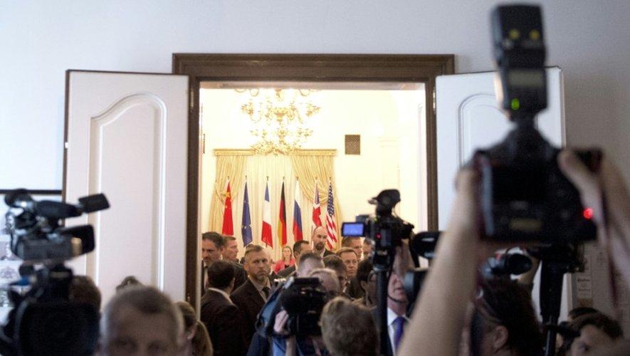Salle de négociations pour les représentants des grandes puissances et de l'Iran à l'hôtel Cobourg à Vienne le 13 juillet 2015