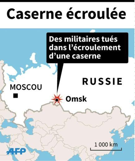 Carte de localisation d'Omsk où 23 militaires ont été tués par l'écroulement d'une caserne