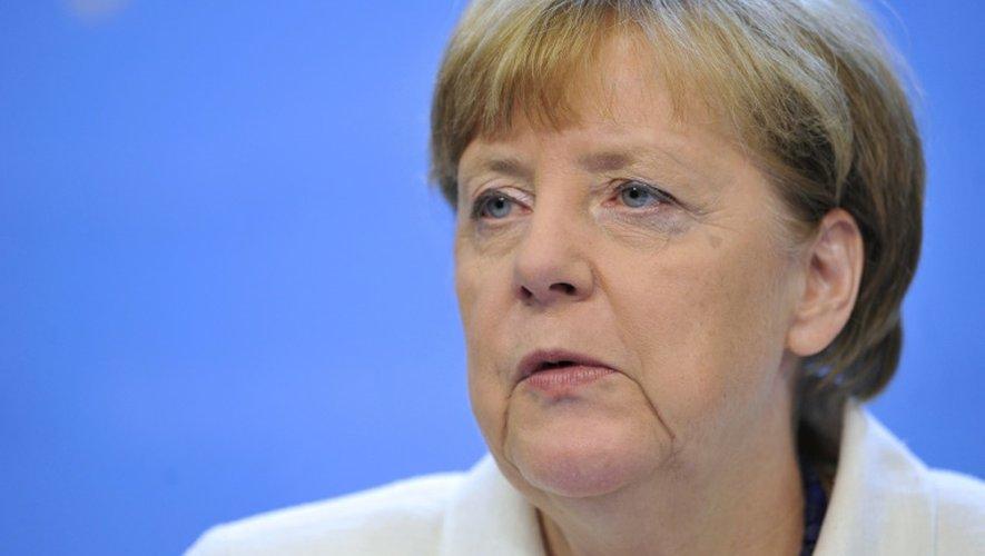 La chancelière Angela Merkel lors d'une conférence de presse sur la Grèce le 13 juillet 2015 à Bruxelles