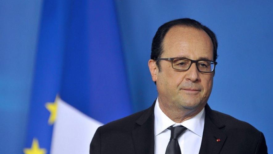 Le président François Hollande lors de sa conférence de presse sur la Grèce le 13 juillet 2015 à Bruxelles