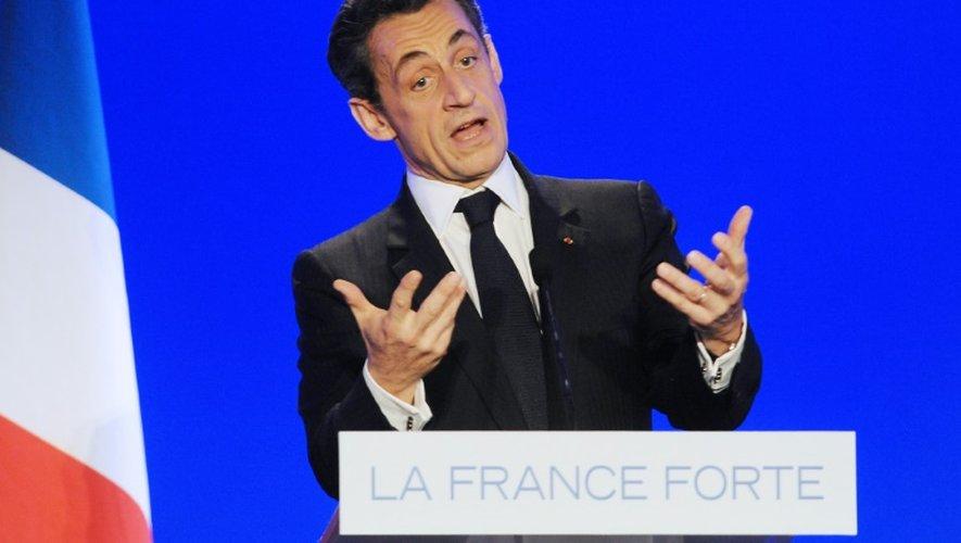 Nicolas Sarkozy président de l'UMP s'exprime lors d'un meeting de campagne le 4 mai 2012 aux Sables-d'Olonne, dans l'ouest de la France