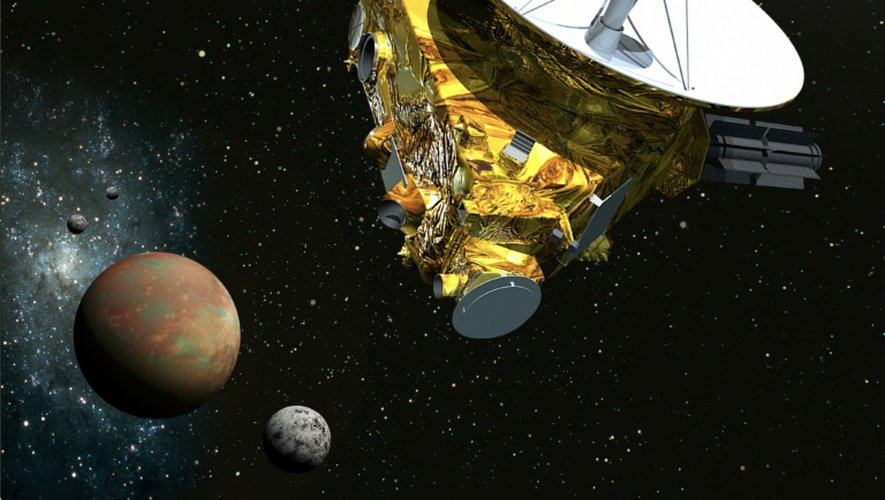Vue d'artiste fournie par la NASA/Université Johns Hopkins de la sonde New Horizons s'approchant de Pluton